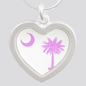 Palmetto & Crescent Moon Silver Heart Necklace