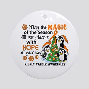 Holiday Penguins Kidney Cancer Ornament (Round)