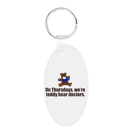 Teddy Bear Doctors Aluminum Oval Keychain