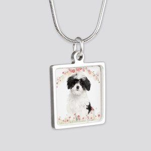 Havanese Flowers Silver Square Necklace