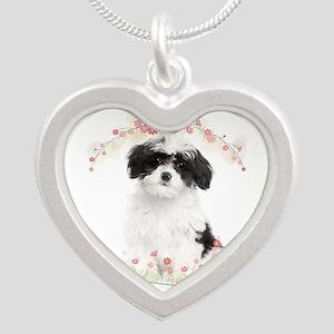 Havanese Flowers Silver Heart Necklace