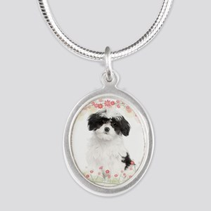 Havanese Flowers Silver Oval Necklace