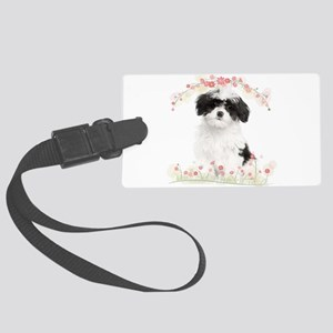 Havanese Flowers Large Luggage Tag