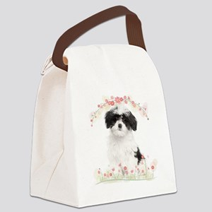 Havanese Flowers Canvas Lunch Bag