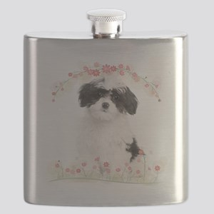Havanese Flowers Flask
