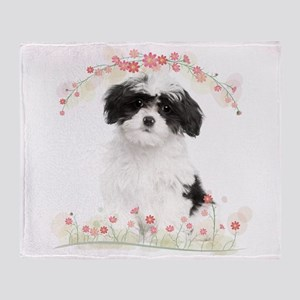 Havanese Flowers Throw Blanket