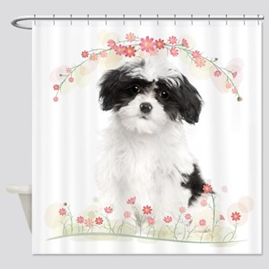 Havanese Flowers Shower Curtain