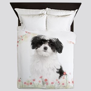 Havanese Flowers Queen Duvet