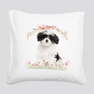 Havanese Flowers Square Canvas Pillow