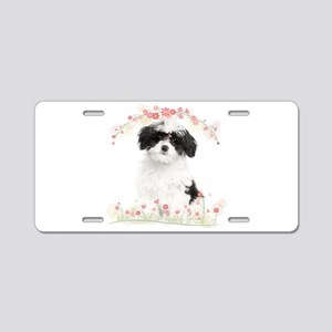 Havanese Flowers Aluminum License Plate