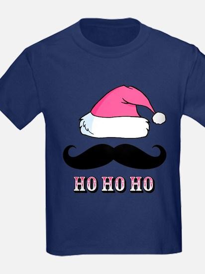 Mustache Santa Pink T