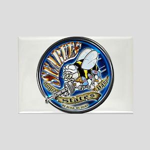 USN Seabees We Build We Fight Blue Rectangle Magne
