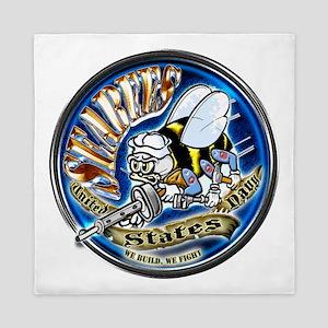 USN Seabees We Build We Fight Blue Queen Duvet