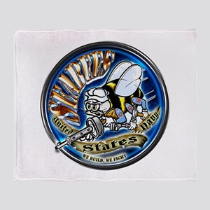 USN Seabees We Build We Fight Blue Throw Blanket