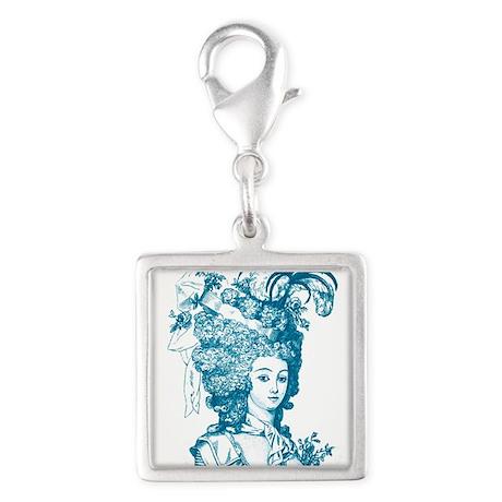 Versailles blue Silver Square Charm