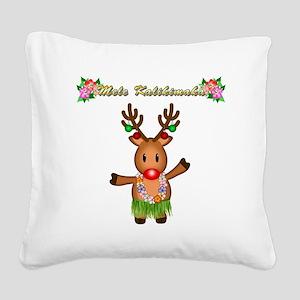 Mele Kalikimaka Deer Square Canvas Pillow