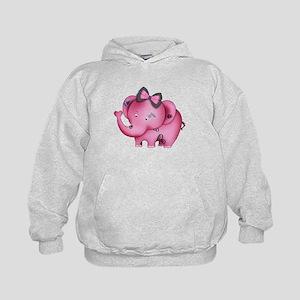 cute hearts pink elephant Kids Hoodie