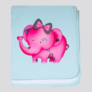 cute hearts pink elephant baby blanket