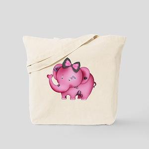 cute hearts pink elephant Tote Bag