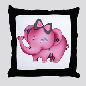 cute hearts pink elephant Throw Pillow