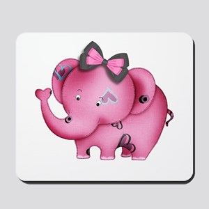 cute hearts pink elephant Mousepad