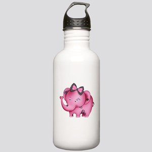 cute hearts pink elephant Stainless Water Bottle 1