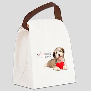 Havanese Heart Canvas Lunch Bag