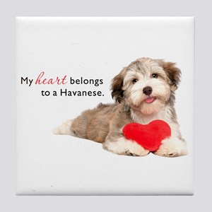 Havanese Heart Tile Coaster