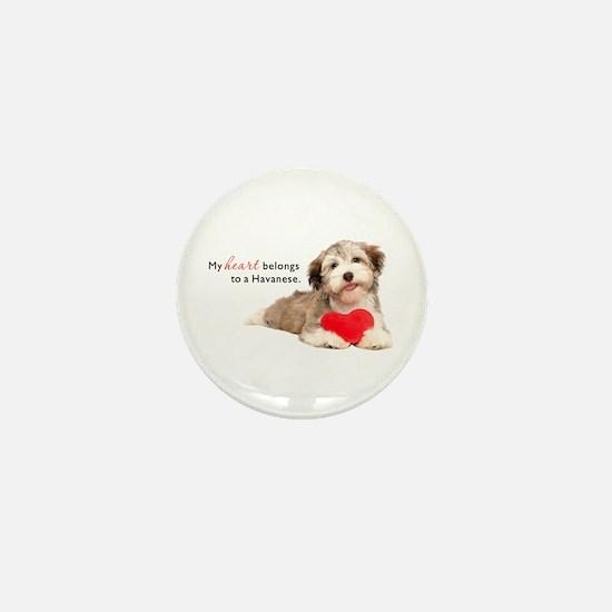 Havanese Heart Mini Button