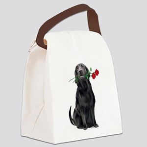 black_lab_with_roses Canvas Lunch Bag