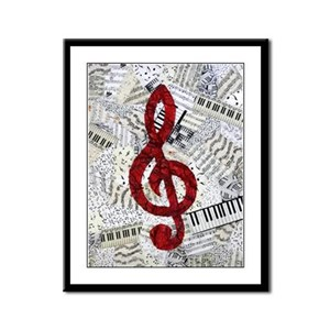 Red Treble Clef Framed Panel Print