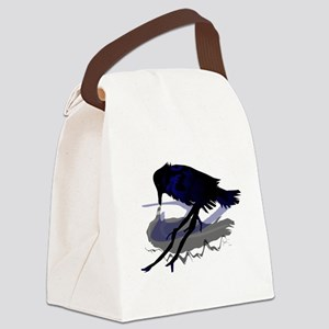 Raven Drinking with Shadow Canvas Lunch Bag