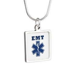 EMT Blue Star Of Life* Silver Square Necklace