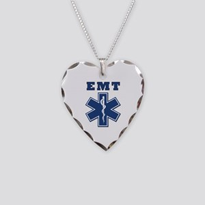 EMT Blue Star Of Life* Necklace Heart Charm