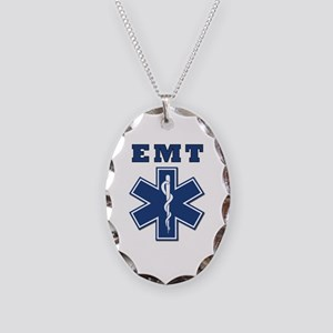 EMT Blue Star Of Life* Necklace Oval Charm