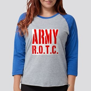 ARMY ROTC Red Font Womens Baseball Tee