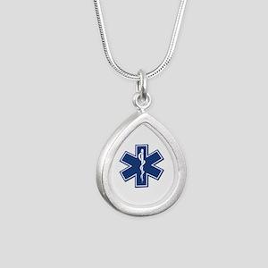 EMS EMT Rescue Logo Silver Teardrop Necklace