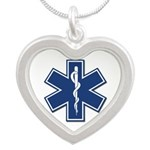 EMS EMT Rescue Logo Silver Heart Necklace