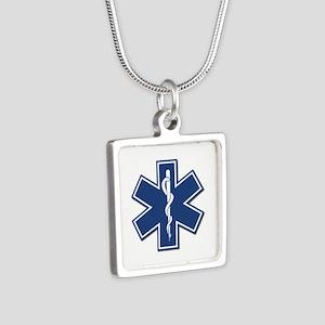 EMS EMT Rescue Logo Silver Square Necklace