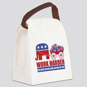 Work Harder Canvas Lunch Bag