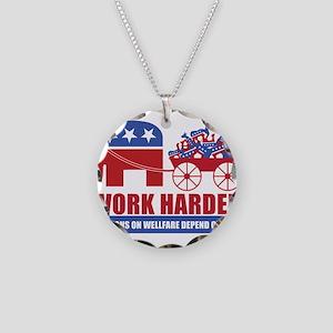 Work Harder Necklace Circle Charm