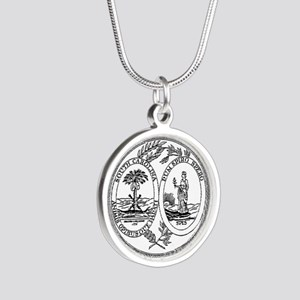 North Carolina State Seal Silver Round Necklace
