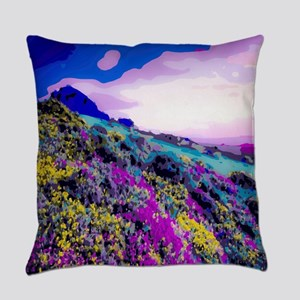 Yellow Purple Mountain Floral Landscape Everyday P