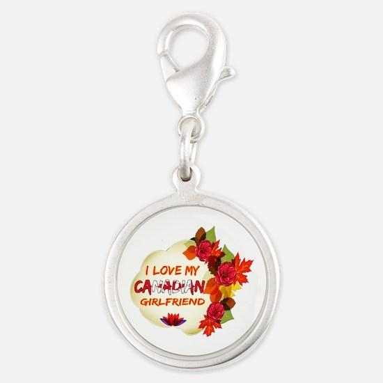 Canadian Girlfriend Valentine design Silver Round