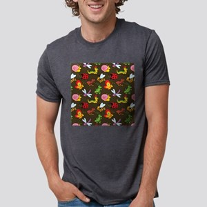 Cute Colorful Bugs, Insects Mens Tri-blend T-Shirt