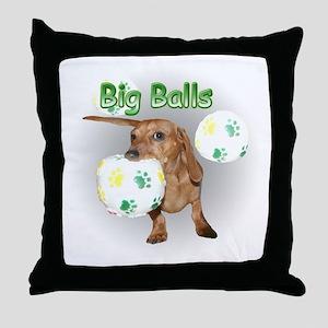 Big Balls Dachshund Dog Throw Pillow