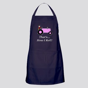Pink Tractor How I Roll Apron (dark)