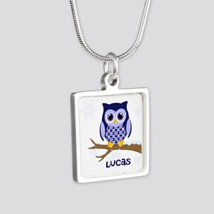 Custom name winter owl blue Silver Square Necklace