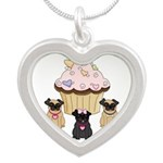 Cupcake Pug Dogs Silver Heart Necklace