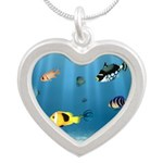 Oceans Of Fish Silver Heart Necklace